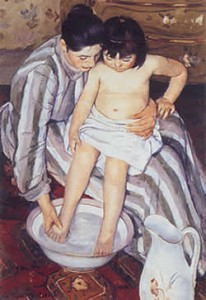 Mary Cassat, The Child's Bath (Il bagno della bimba), 1893, The Art Institute, Chicago.