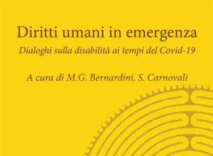 """La copertina di """"Diritti umani in emergenza"""" reca gli estremi della pubblicazione, è di colore giallo ocra, ed è decorata con il disegno di un labirinto."""