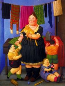 Una giovane vedova si prede cura di tre bambini ed un gatto. Nella stanza ci sono i panni stesi, diversi giocattoli ed un ferro da stiro.