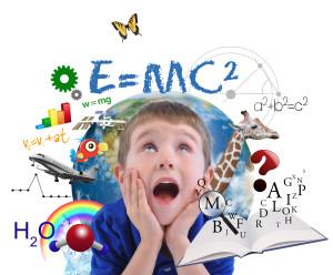 Un'illustrazione grafica sui disturbi specifici dell'apprendimento, mostra un bambino che rimane letteralmente a bocca aperta davanti alla mole di informazioni che lo circondano. Lettere, formule, equazioni, animali, grafici, ecc.