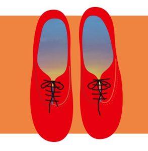 Disegno di due scarpe rosse.