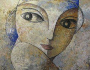 Un volto femminile realizzato dall'artista spagnolo Didier Lourenço.